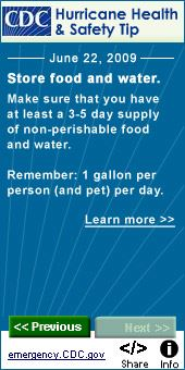 CDC Hurricane Health and Safety Tips store food and water