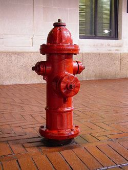 Red fire hydrant on sidealk