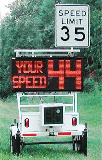 Speed monitor beside roadway